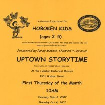 Image of Flier: Uptown Storytime at the Hoboken Historical Museum, Fall 2007. - Handbill