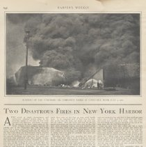 "Image of Article from Harper's Weekly: ""Two Disastrous Fires in New York Harbor."" Circa July - August 1900 - Article"