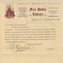 Image of Requisition to Mayor and City Council from Trustees, Free Public Library, Hoboken, October 22, 1907, requesting $2000 to pay Sept.- Oct.expenses. - Letter
