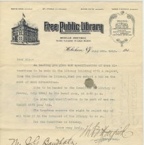 Image of Letter to J.G. Baudholz, 622 Bloomfield St., Hoboken from Trustees, Free Public Library, Hoboken, July 8, 1913, soliciting bid on library alterations. - Letter
