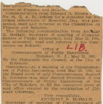 Image of Clipping of published letter to Mayor & City Council from Board of Trustees, School for Industrial Education, Hoboken, May 8, 1901. - Documents