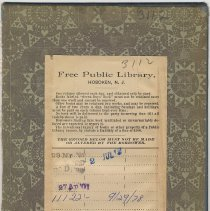 Image of Free Public Library, Hoboken, charge slip attached inside rear cover of book. - Documents
