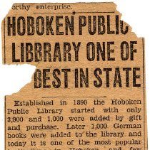 "Image of Newsclipping: ""Hoboken Public Library One of [the] Best in State."" Jersey Observer, 50th Anniversary edition, 1942. - Documents"