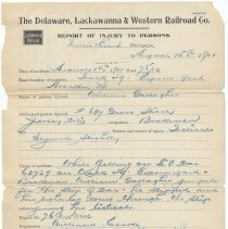 Image of Six documents related to Delaware, Lackawanna & Western Railroad employee's accident, Hoboken, August, 1901. - Documents