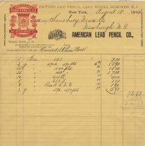 Image of Invoice billhead of American Lead Pencil Company, August 18, 1894. - Invoice