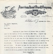 Image of Letter to Palmer Campbell of Hoboken on American Lead Pencil Co. letterhead from company official, Hoboken, Oct. 28, 1918. - Documents