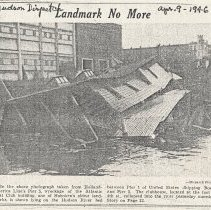 Image of Newsclipping: Landmark No More; Atlantic Boat Club's 88-Year Saga Told; Rebuilding Seen Improbable. Photocopy from Hudson Dispatch, April 9, 1946. - Documents