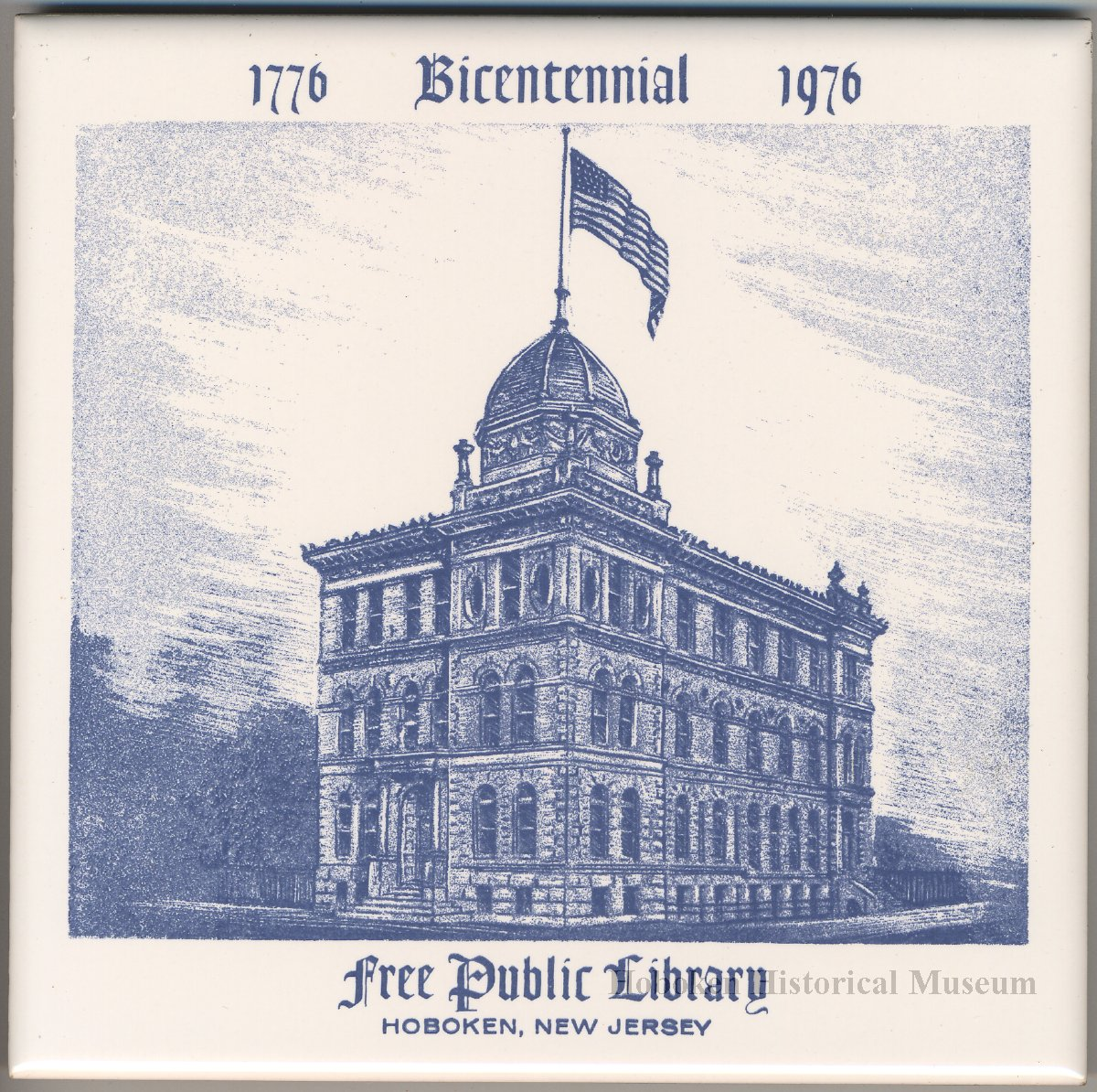 Ceramic commemorative tile, 1776-1976 Bicentennial, Free Public