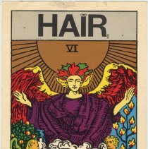 "Image of Handbill: Hair tarot card ""The Lovers"" issued to audiences during the Broadway production of the musical, New York, 1967-1968. - Handbill"