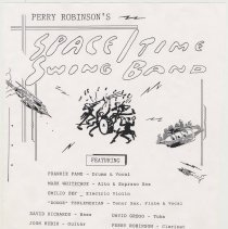 Image of Handbill: Perry Robinson's Space/Time Swing Band. Maxwell's, Hoboken, Sept. 3, 1992. - Handbill
