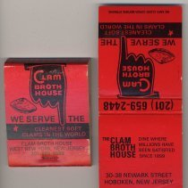 Image of Matchbook imprinted Clam Broth House, West New York and 30-38 Newark St., Hoboken, no date, ca. 1985-1995. - Matchbook
