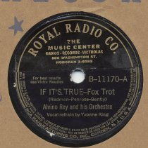 Image of Record with imprint on label for Royal Radio Company, The Music Center, 800 Washington St. Hoboken, N.J. No date, 1941. - Record, Phonograph