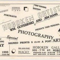 Image of Postcard handbill for exhibition, 2 Hoboken Artists, Hoboken Gallery, 302 7th St., Hoboken, May 5, 1995. - Handbill