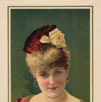 Image of Lithographic color portrait of Lillian Russell with caption relating her connection to Hoboken. - Print