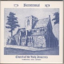 Image of Ceramic commemorative tile, 1776-1976 Bicentennial, Church of the Holy Innocents, Hoboken, New Jersey, [1976. - Tile, Decorative