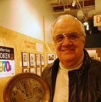 Image of Digital images, 2, of Harold Lilienthal with ship's bells he brought to donate to Museum,  HHM, Jan. 21, 2007. - Print, Photographic