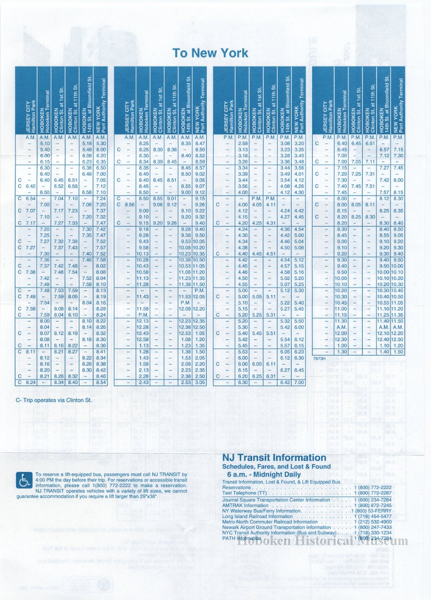 Timetable New Jersey Transit Holiday Schedule For Bus