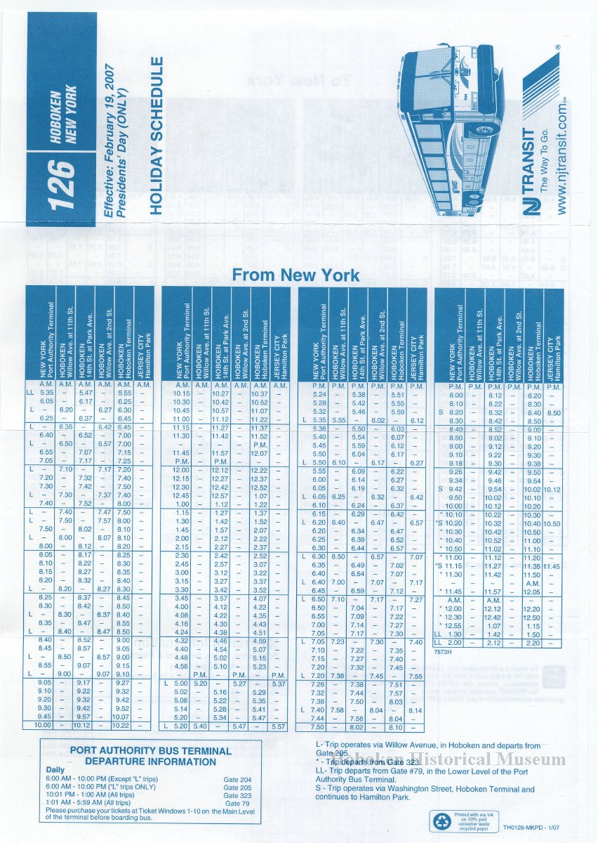 timetable: new jersey transit holiday schedule for bus route 126