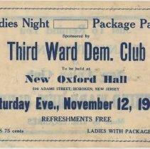 Image of Ladies Night Package Party Sponsored by Third Ward Democratic Club, Hoboken, Nov. 1938. - Handbill
