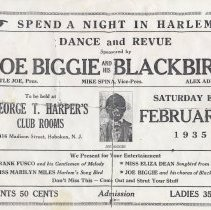 Image of Handbill: Spend a Night in Harlem Dance and Revue, Joe Biggie & His Blackbirds, Hoboken, Feb.2(?), 1935. - Handbill