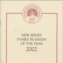 Image of Program: New Jersey Family Business of the Year [Awards] 2002. (Biggie's Clam Bar award winner at event), Oct. 3, 2002. - Program