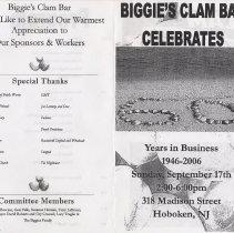 Image of Program: Biggie's Clam Bar Celebrates 60 Years in Business, 1946-2006, 318 Madison S., Hoboken, Sept.17, (2006.) - Program