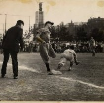 Image of B+W photo of player in Hoboken uniform at baseball game in Weehawken, N.J., no date, circa 1950-1955. - Print, Photographic