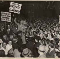 Image of B+W photo of rally for Senator Elmer Wene for Governor, no place (probably Hoboken), (1949.) - Print, Photographic