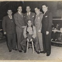 Image of B+W photo of 5 men & a trainer in a boxing ring, Hoboken, no date, circa 1945-1950. - Print, Photographic