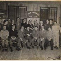 Image of B+W photo of John Palumbo S. & A.Club presenting a check for Hoboken Paraplegics, Hoboken, no date, ca. 1937-1943. - Print, Photographic
