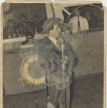 Image of B+W photo of Patty Prince performing, no place, no date, circa 1940-50. Inscribed to Biggie. - Print, Photographic