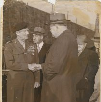 Image of Sepia-tone photo of Field Marshall Bernard Montgomery with dignitaries at Lincoln Tunnel, Weehawken, circa 1950-1953. - Print, Photographic