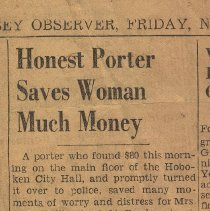 Image of Newsclipping re Joe Yaccarino, Hoboken City Hall porter, returning money a woman lost there, Hoboken, ca. 1940's. - Documents