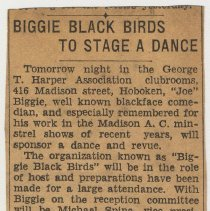 "Image of Newsclipping ""Biggie Black Birds to Stage a Dance,"" Hoboken, no date, (Feb.,1935, circa the 20th to 28th.) - Documents"