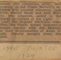 Image of Newsclipping of review of performance by Joe Biggie (Joseph Yaccarino of Hoboken) with Joe Murrary at Lyric Theatre, Hoboken, 1924. - Documents