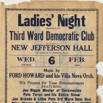 Image of Handbill: Ladies Night Sponsored by Third Ward Democratic Club, Hoboken, Feb. 6, 1935. - Handbill