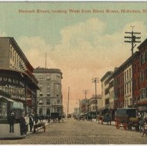 Image of Postcard: Newark Street Looking West to Hudson Street From River Street, Hoboken, circa 1908. - Postcard