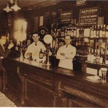 Image of Photo catalog record of sepia-tone copy photo of interior of Clam Broth House bar, 38 Newark St., Hoboken, 1936. - Print, Photographic