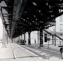 Image of View west on Ferry Street (Observer Highway) to Washington Street, Hoboken, circa mid-1930's. - Print, Photographic