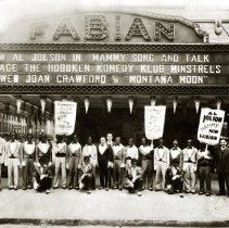 Image of Fabian Theatre with Hoboken Komedy Klub Minstrels posed under the Washington Street marquee, Hoboken, 1930. - Print, Photographic