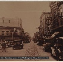 Image of Sepia-tone copy photo of First St. looking west from Washington St., Hoboken, ca. 1930. - Print, Photographic