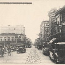 Image of B+W photocopy of photo of First St. looking west from Washington St., Hoboken, ca. 1930. - Print, Photographic