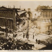 Image of Sepia-tone photo of Cyclone Disaster, northwest corner of First and Bloomfield Streets, Hoboken, August 29, 1901. - Print, Photographic
