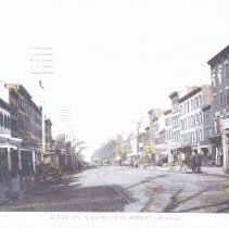 Image of Hand-colored photocopy of photographic view looking north on Washington St. from Second St., Hoboken, circa 1892. - Print, Photographic