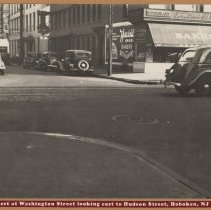 Image of B+W photo of Washington St. at Third St. looking east to Hudson St., Hoboken, ca.1938. - Print, Photographic