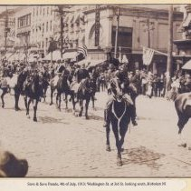 Image of Sepia-tone photo of Washington St. at Third St. during 'Safe & Sane' July Fourth parade, Hoboken, 1913. - Print, Photographic