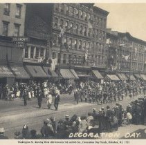 Image of Photo of Washington St. looking north to Fourth St. with Girl Scouts marching in Decoration Day parade, Hoboken, 1922. - Print, Photographic