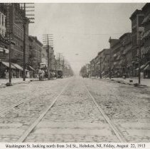 Image of View looking north on Washington St.from Third St. to Fourth St., Hoboken, August 22, 1913. - Print, Photographic