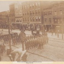 Image of Sepia-tone photo of funeral procession for policeman, Washington St. between Third and Fourth Sts., Hoboken, ca. 1903. - Print, Photographic