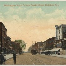 Image of Color postcard: Washington Street South From Fourth Street, Hoboken, circa 1908.  - Postcard